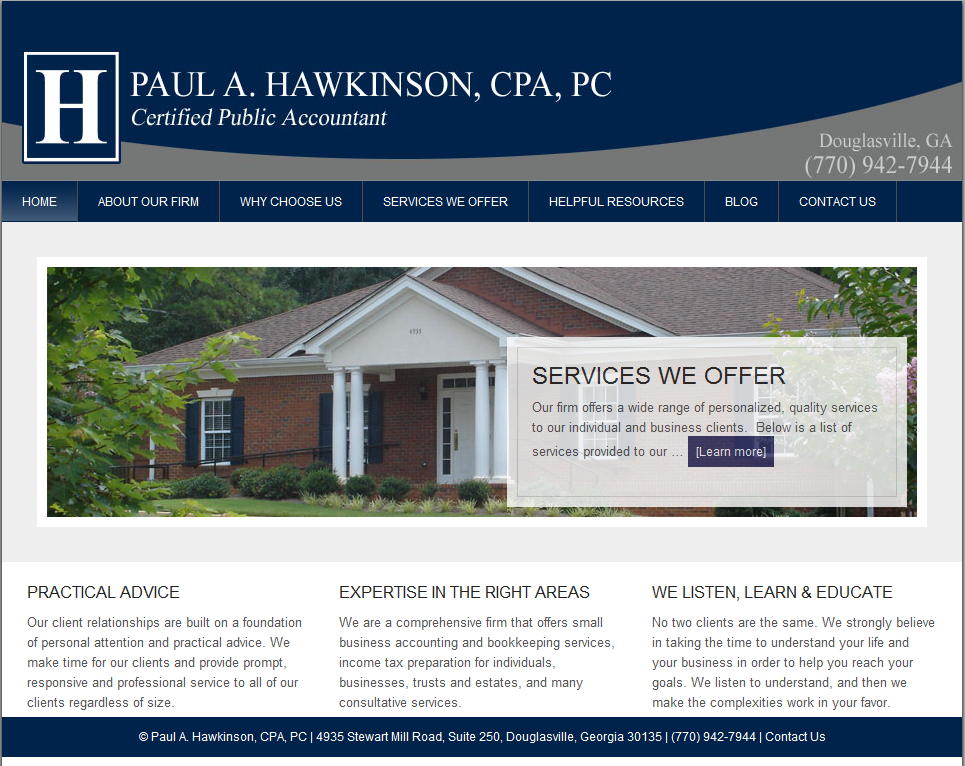 Paul A. Hawkinson,CPA, Launches New Website