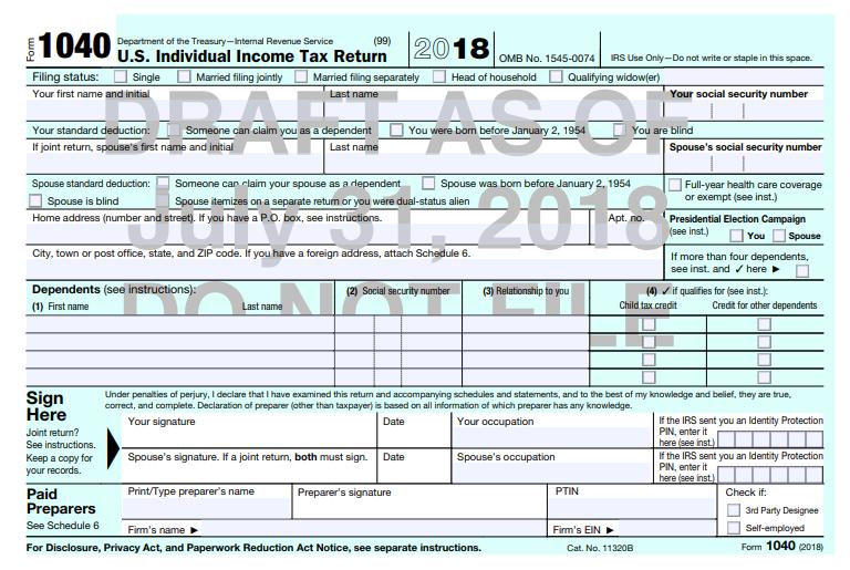 The new shrunken Form 1040