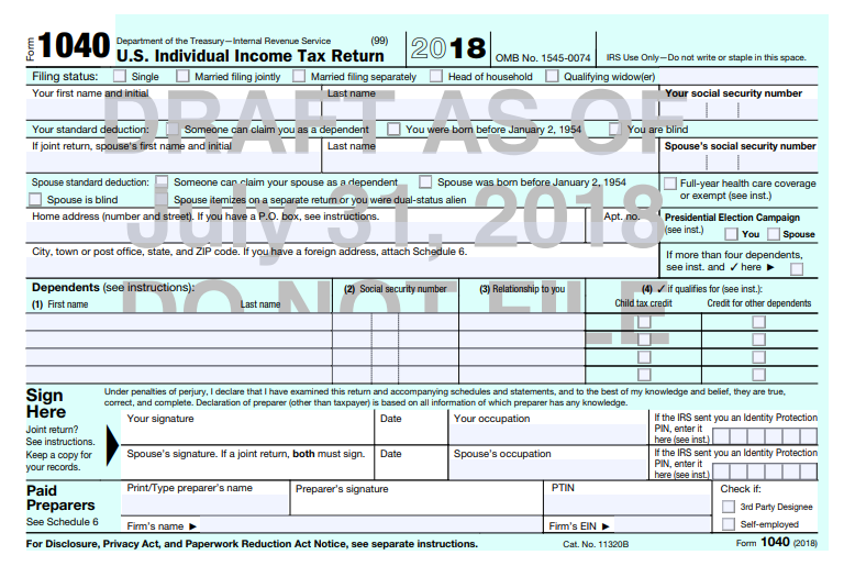 The new shrunken Form 1040